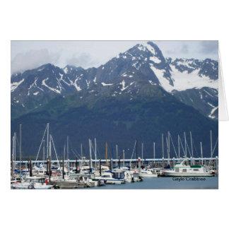 Seward, puerto de Alaska con la tarjeta de nota de