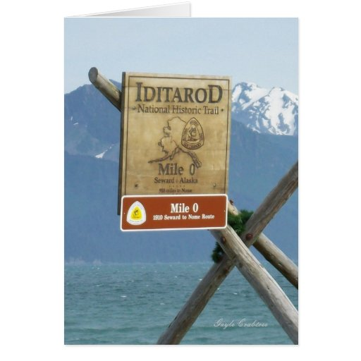 Seward, tarjeta de nota de Iditarod de la milla 0