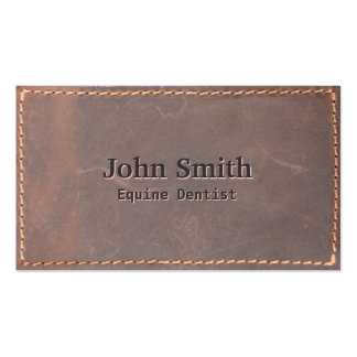 Sewed Leather Equine Dentist Business Card