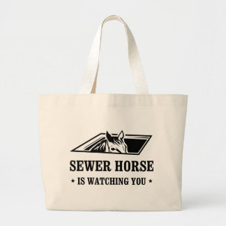 Sewer Horse is watching you Canvas Bags