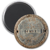 Sewer Manhole Cover Refrigerator Magnet