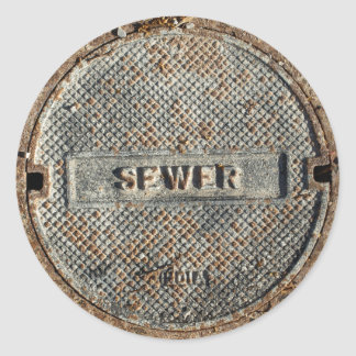 Sewer Manhole Cover Round Stickers