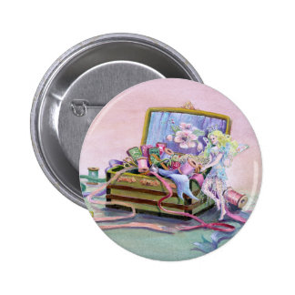 SEWING BOX FAEIRE by SHARON SHARPE Pinback Button