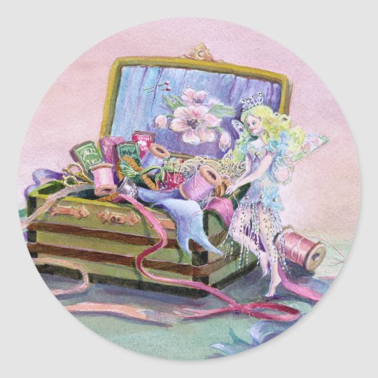 SEWING BOX FAEIRE by SHARON SHARPE Classic Round Sticker