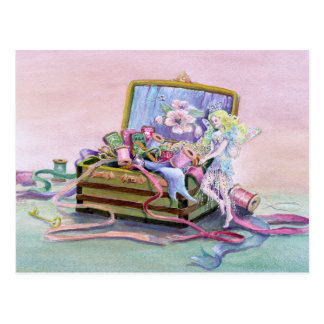 SEWING BOX FAERIE by SHARON SHARPE Postcard