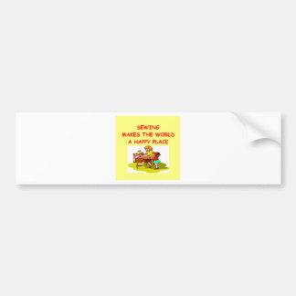 sewing car bumper sticker