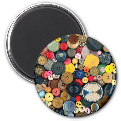 Sewing - Buttons - Bunch of Buttons Refrigerator Magnets