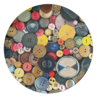 Sewing - Buttons - Bunch of Buttons Melamine Plate