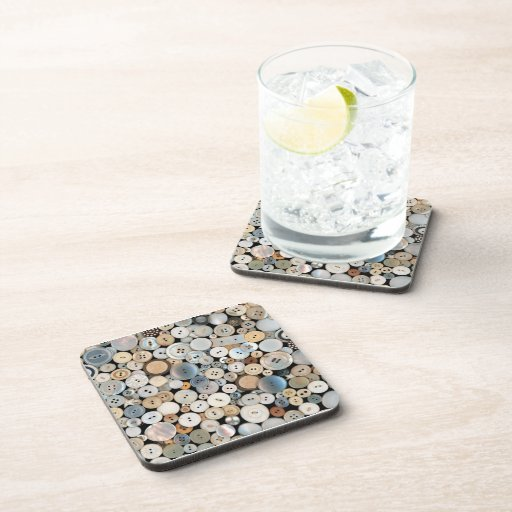 Sewing - Buttons - Lots of white buttons Beverage Coaster