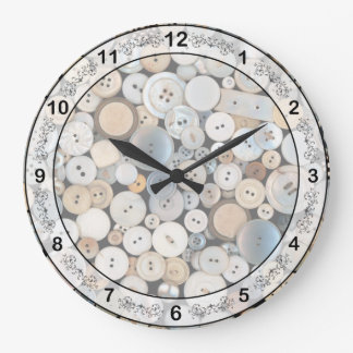 Sewing - Buttons - Lots of white buttons Large Clock