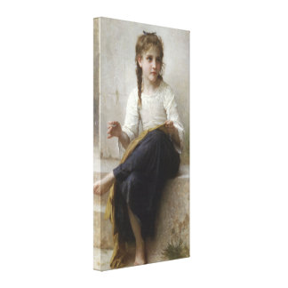 Sewing by William-Adolphe Bouguereau Stretched Canvas Print