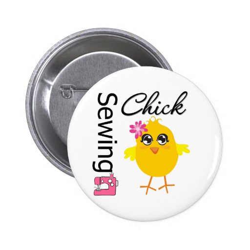 Sewing Chick Pinback Button