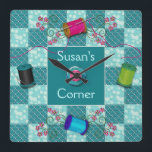 """SEWING CLOCK - PERSONALIZE WITH NAME<br><div class=""""desc"""">IDEAL CLOCK FOR THE LADY THAT LOVES TO SEW AND HAS THAT SPECIAL SEWING ROOM,  REGARDLESS IF SHE QUILTS,  EMBROIDERY OR IS A SEAMSTRESS,  SHE&#39;S SURE TO LOVE IT.</div>"""