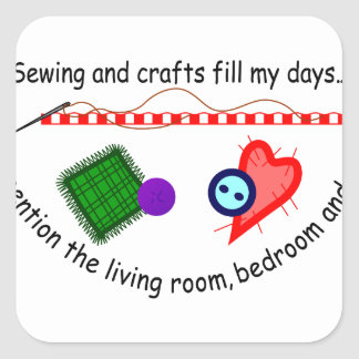 Sewing & Crafts Square Sticker