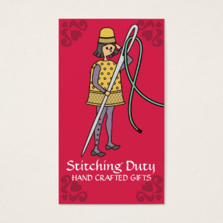 Sewing embroidery thimble needle thread soldier business card