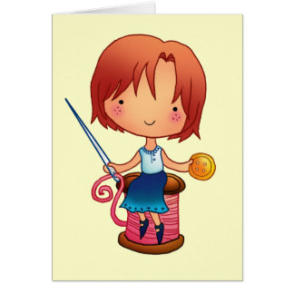 Sewing girl greeting cards