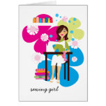 Sewing Girl Personalized Notecards Cards