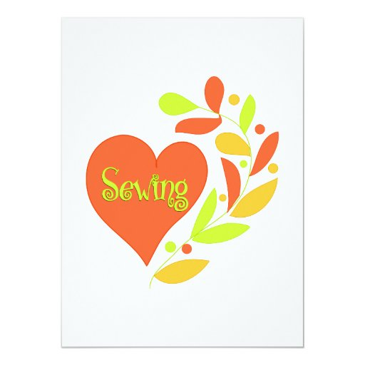 "Sewing Heart 5.5"" X 7.5"" Invitation Card"