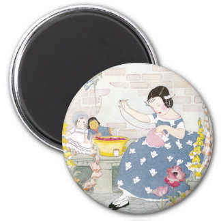 Sewing in a Garden of Foxglove & Poppies 2 Inch Round Magnet