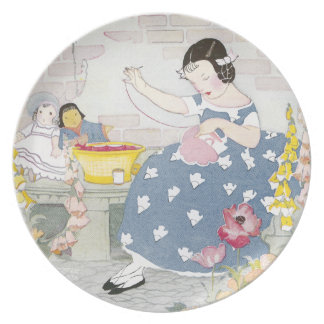 Sewing in a Garden of Foxglove & Poppies Dinner Plate
