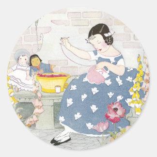 Sewing in a Garden of Foxglove & Poppies Classic Round Sticker