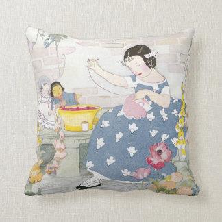 Sewing in a Garden of Foxglove & Poppies Throw Pillow