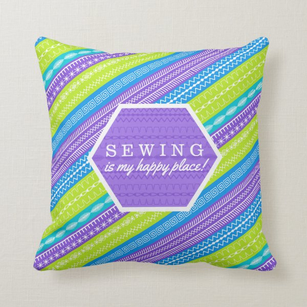 Sewing is my happy place throw pillow