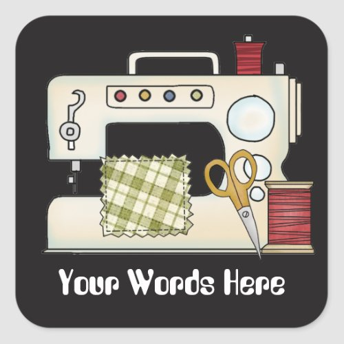 Sewing machine add words crafting sticker