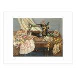 Sewing Machine and Dress Postcard