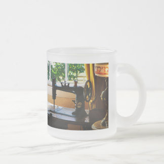 Sewing Machine and Lamp Frosted Glass Coffee Mug