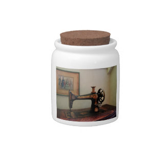 Sewing Machine and Lithograph Candy Jars