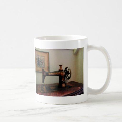 Sewing Machine and Lithograph Coffee Mugs