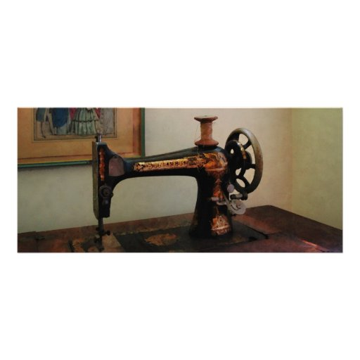 Sewing Machine and Lithograph Custom Rack Card