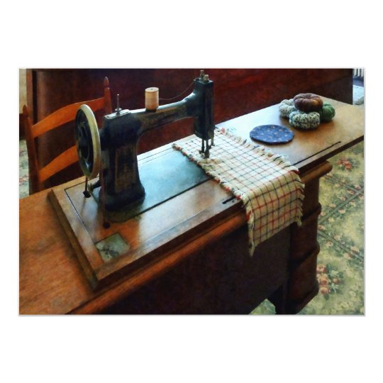 Sewing Machine and Pincushions Card