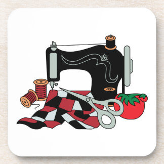 Sewing Machine and Quilt Drink Coaster