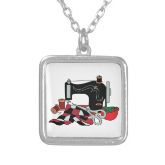 Sewing Machine and Quilt Silver Plated Necklace