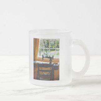 Sewing Machine By Window Frosted Glass Coffee Mug