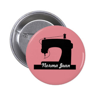 Sewing Machine Crafts Icon / Your Text Pinback Button