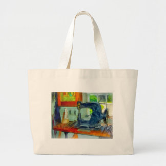 Sewing Machine in Harness Room Large Tote Bag