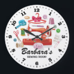 """Sewing Machine Personalizable Wall Clock<br><div class=""""desc"""">A unique sewing room personalizable decorative wall clock. A great addition to any home. Also makes a great gift idea.</div>"""