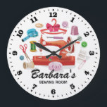 "Sewing Machine Personalizable Wall Clock<br><div class=""desc"">A unique sewing room personalizable decorative wall clock.