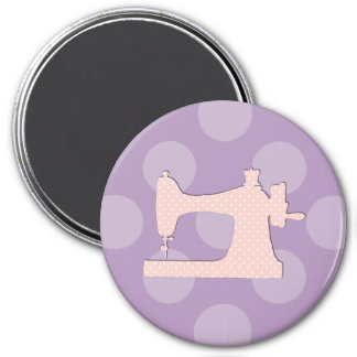 Sewing Machine, Polka Dots - Pink White 3 Inch Round Magnet