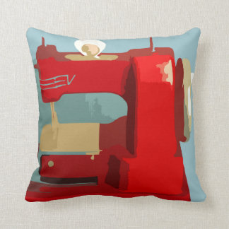 Sewing Machine Red Throw Pillow