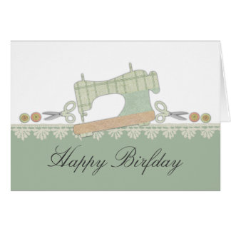 Sewing machine scissors button lace gift card