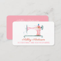 Sewing Machine Seamstress Watercolor Business Card