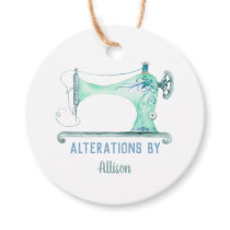 Sewing Machine Seamstress Watercolor Favor Tags