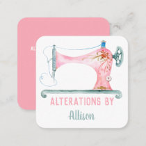 Sewing Machine Seamstress Watercolor Square Business Card