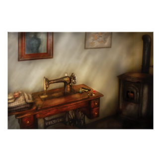 Sewing Machine - Sewing in a cozy room Poster