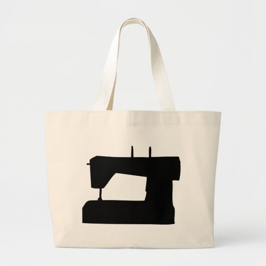 sewing machine silhouette large tote bag