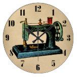 Sewing Machine Vintage Illustration Clocks